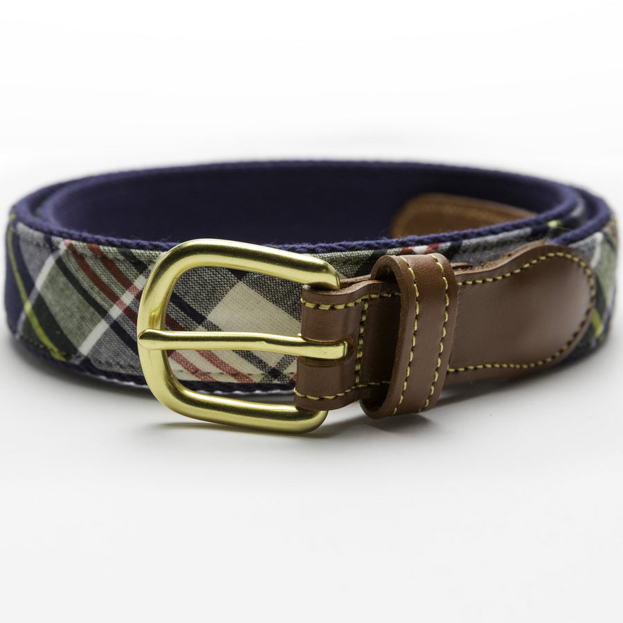 Madras Leather Tab Belt- Kennebunkport - Just Madras