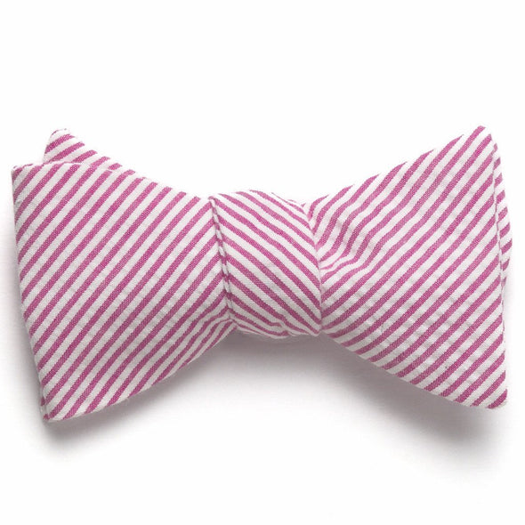 Seersucker Bow Tie- Pink - Just Madras