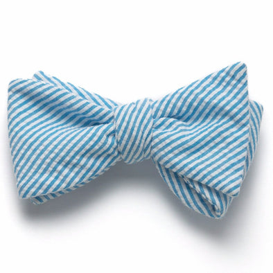 Seersucker Bow Tie- Turquoise - Just Madras