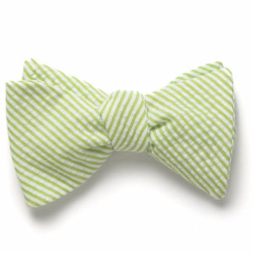 Seersucker Bow Tie- Lime Green - Just Madras