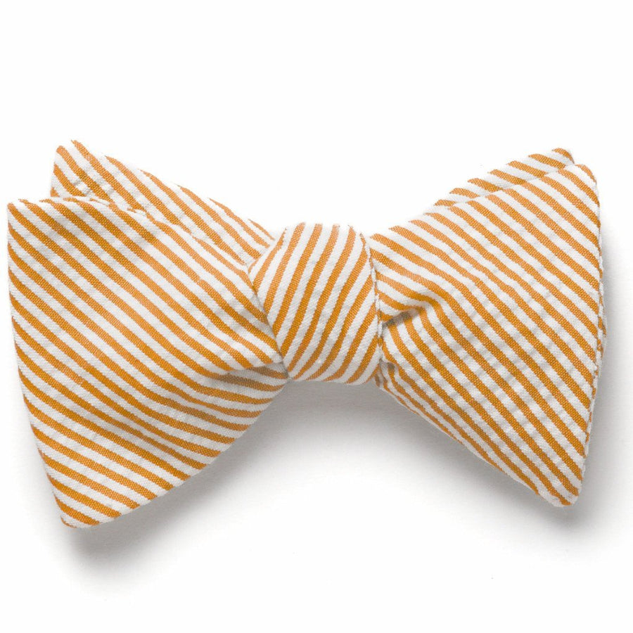 Seersucker Bow Tie- Orange - Just Madras
