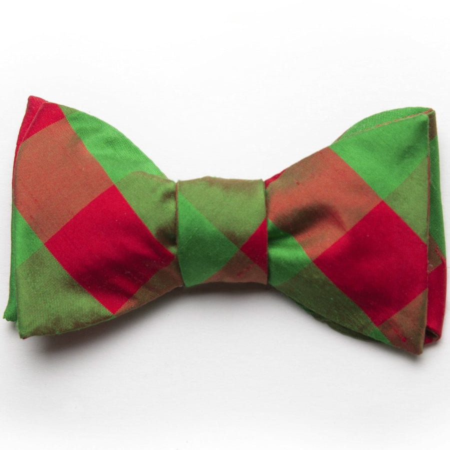 Holiday Silk Bow Tie- Green/Red Check - Just Madras