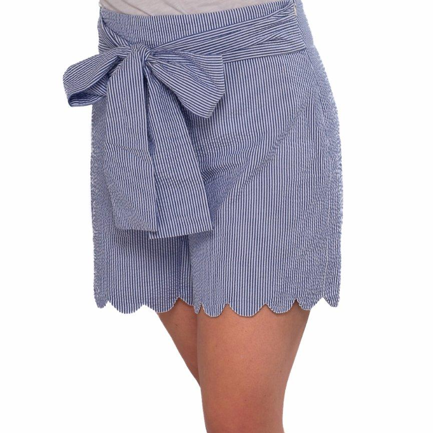 High Waisted Scalloped Shorts- Blue Seersucker