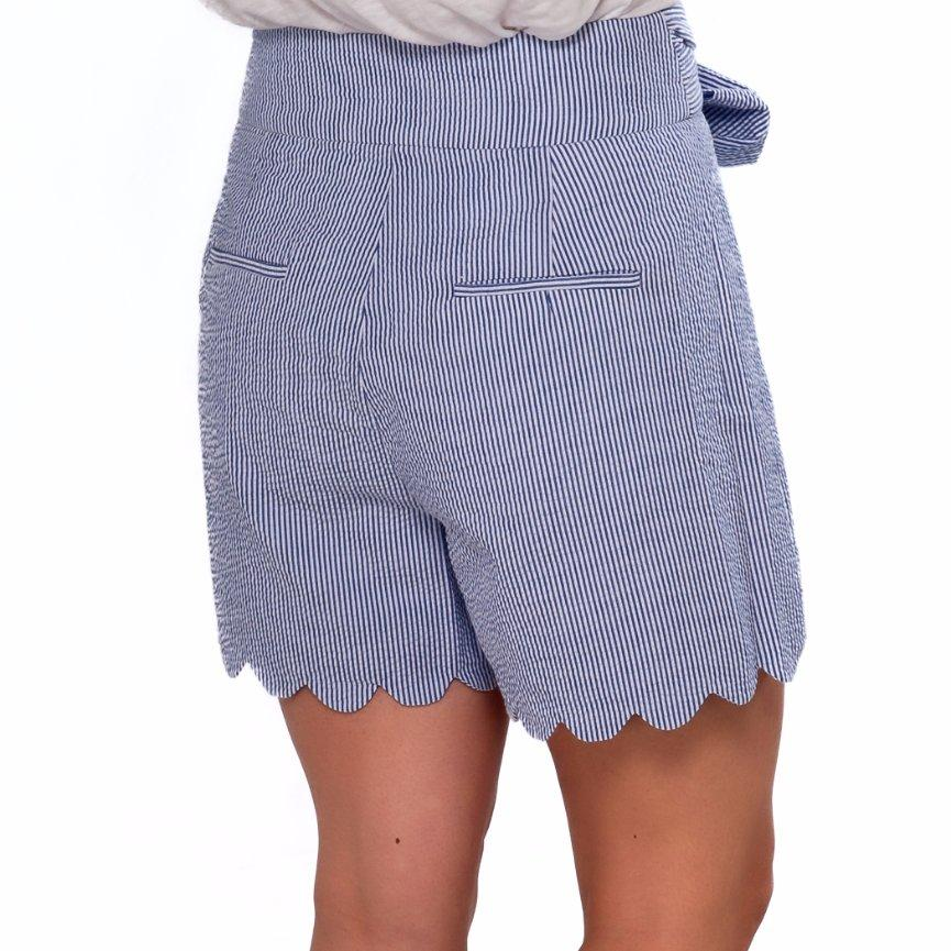 High Waisted Scalloped Shorts- Blue Seersucker - Just Madras