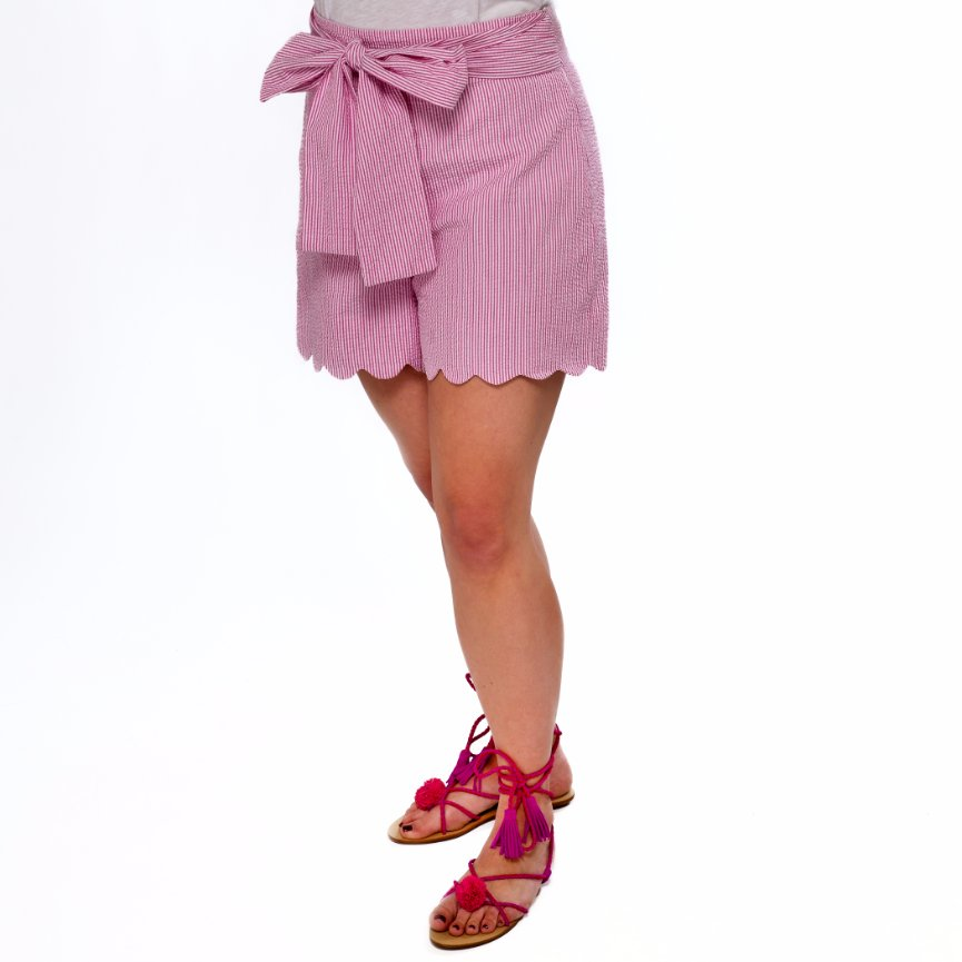 High Waisted Scalloped Shorts- Pink Seersucker