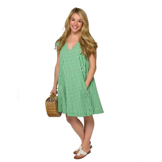 Maggie Dress- Green Gingham