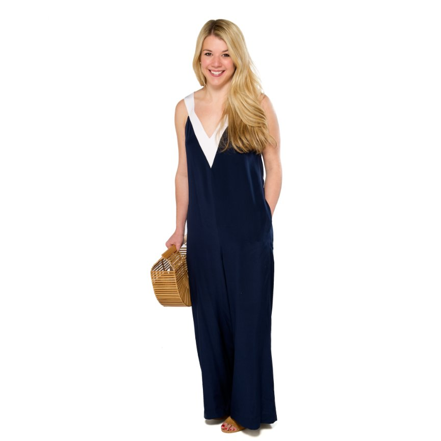 Silk Varsity Jumpsuit- Navy/White