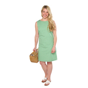 Classic Shift Dress- Green Gingham - Just Madras