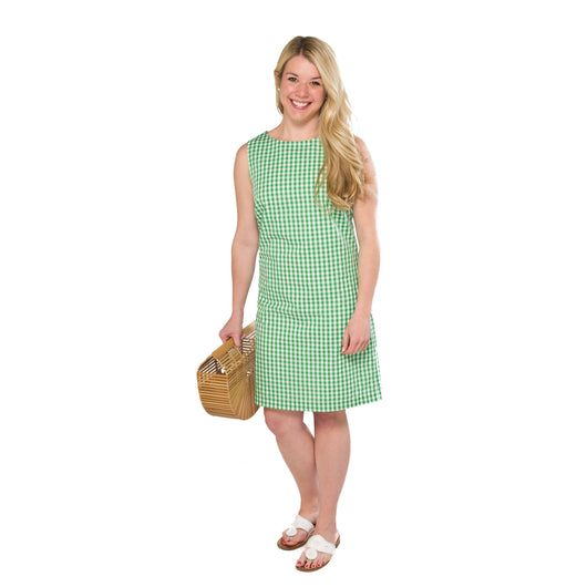 Classic Shift Dress- Green Gingham