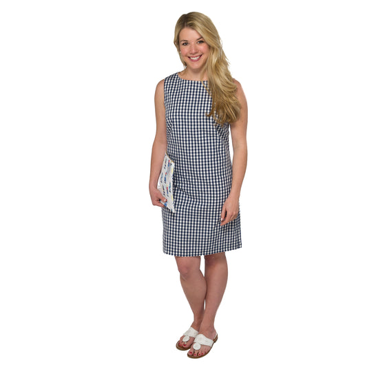 Classic Shift Dress- Navy Gingham
