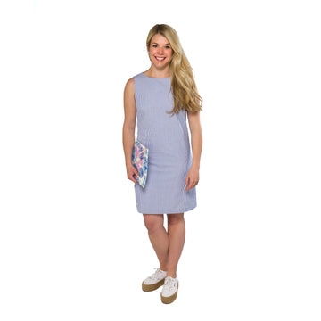 Classic Shift Dress- Blue Seersucker - Just Madras