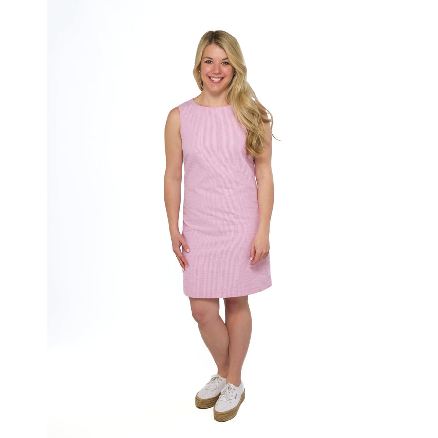 Classic Shift Dress- Pink Seersucker