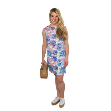 Classic Shift Dress- Hydrangea Print