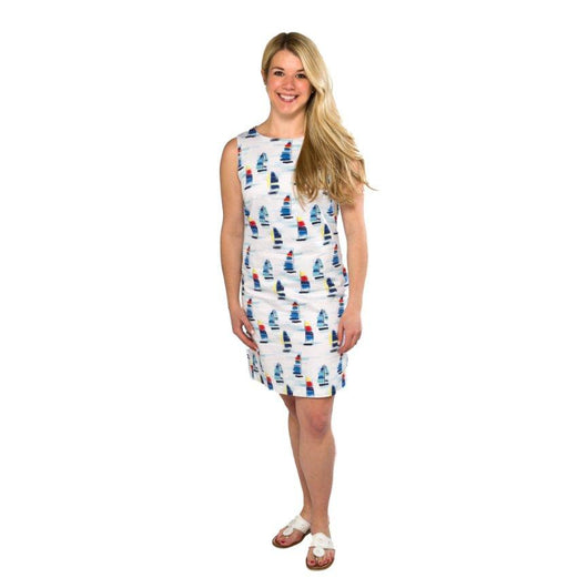 Classic Shift Dress- Sailboat Print