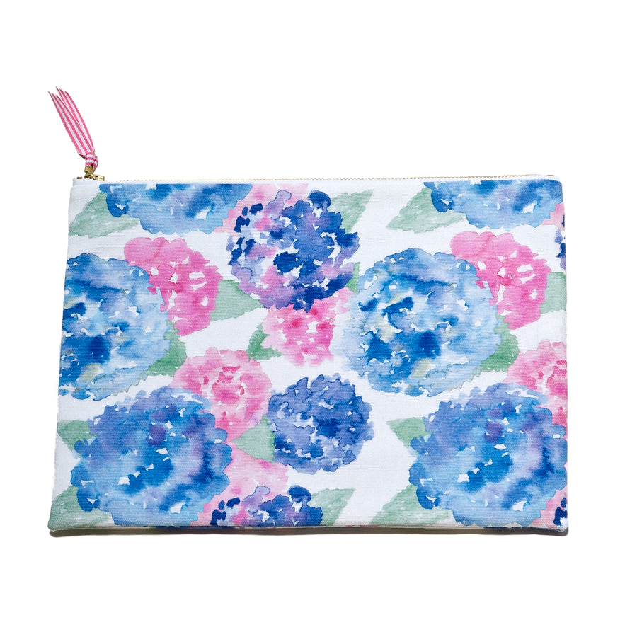Oversized Canvas Clutch- Hydrangea - Just Madras
