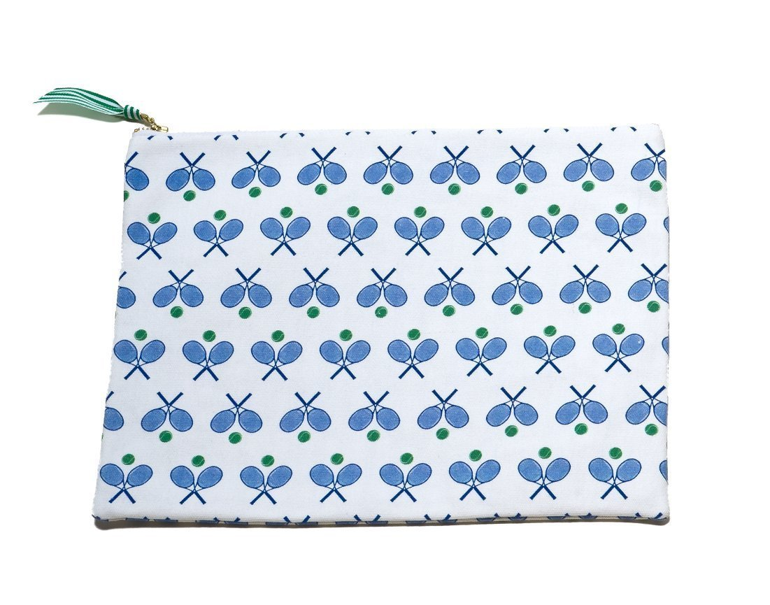 Oversized Canvas Clutch- Tennis Print - Just Madras