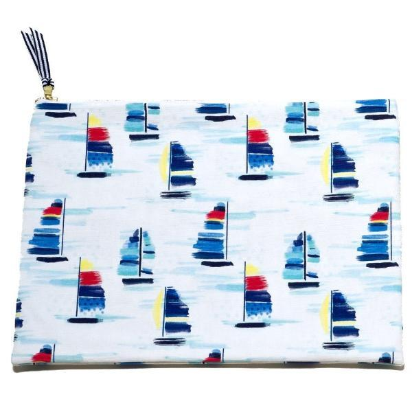 Oversized Canvas Clutch- Sailboat