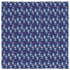 Open image in slideshow, Pet Bandanas- Navy Sailboats - Just Madras