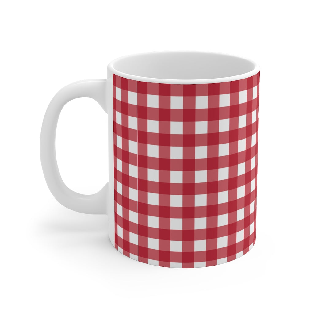 Mug 11oz- Red Gingham - Just Madras