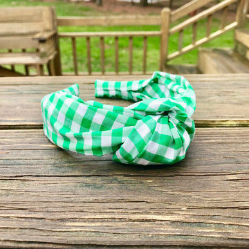 Knot Headband- Green Gingham