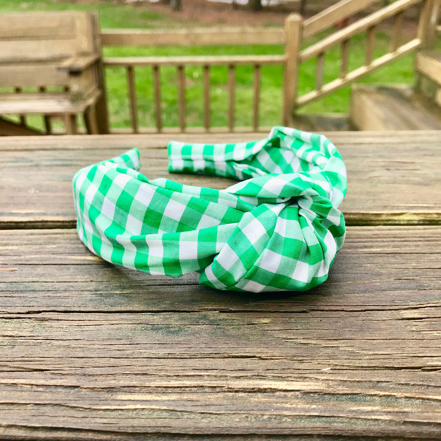Knot Headband- Green Gingham - Just Madras