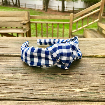 Knot Headband- Navy Gingham