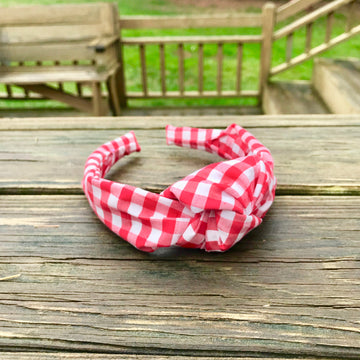 Turban Headband- Red Gingham