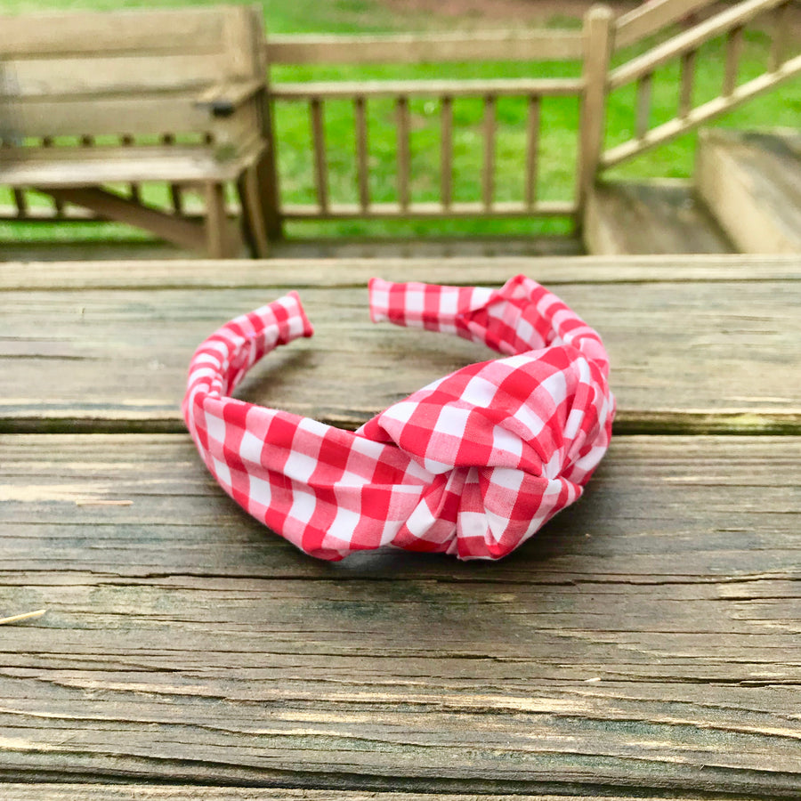 Knot Headband- Red Gingham - Just Madras