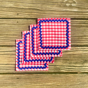 Red Gingham Cocktail Napkins w/ Navy Rick Rack - Just Madras