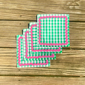 Green Gingham Cocktail Napkins w/ Pink Rick Rack - Just Madras