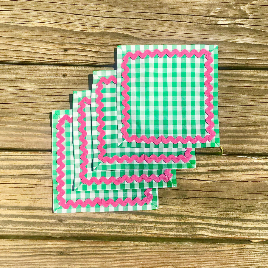 Green Gingham Cocktail Napkins w/ Pink Rick Rack