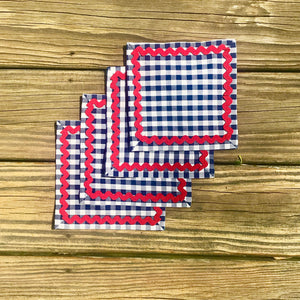 Navy Gingham Cocktail Napkins w/ Red Rick Rack - Just Madras
