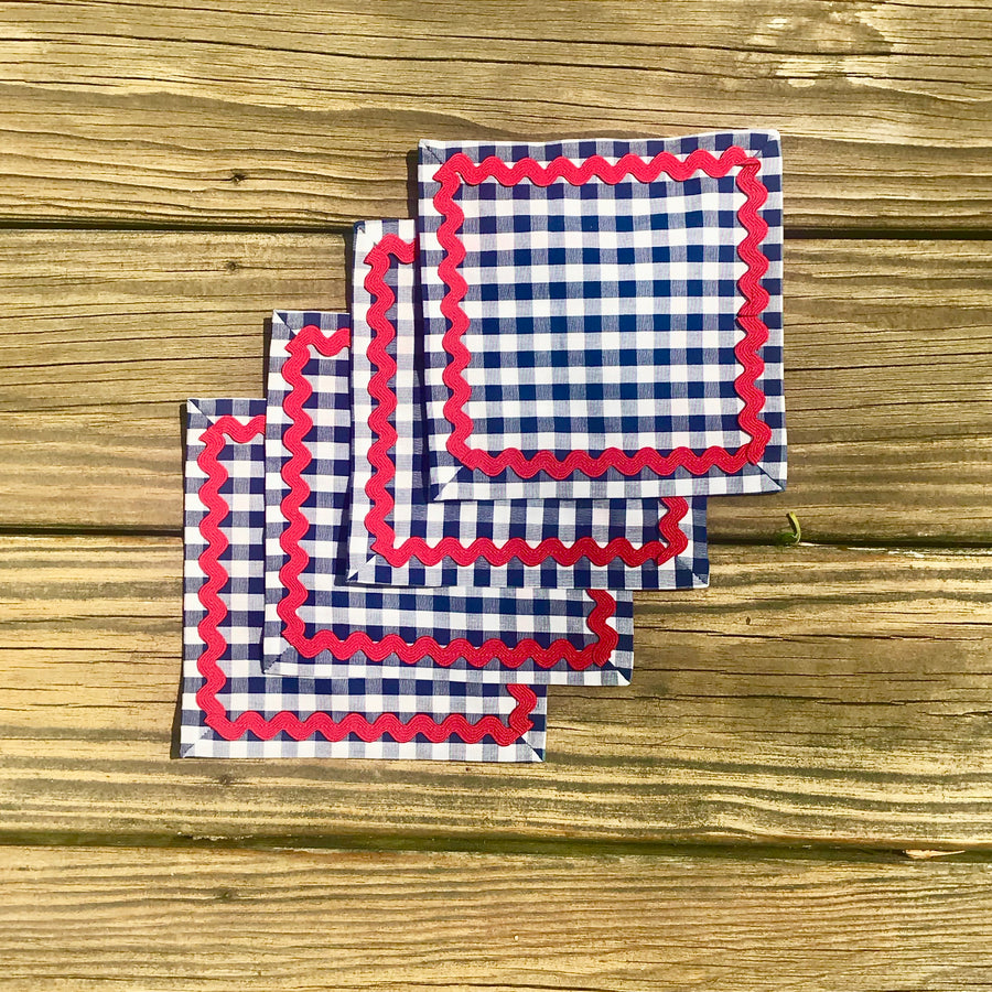 Navy Gingham Cocktail Napkins w/ Red Rick Rack