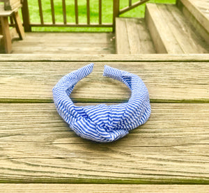 Knot Headband- Blue Seersucker - Just Madras