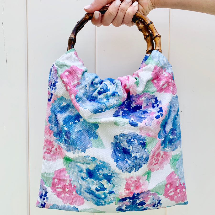 Bamboo Circle Handle Clutch- Hydrangea