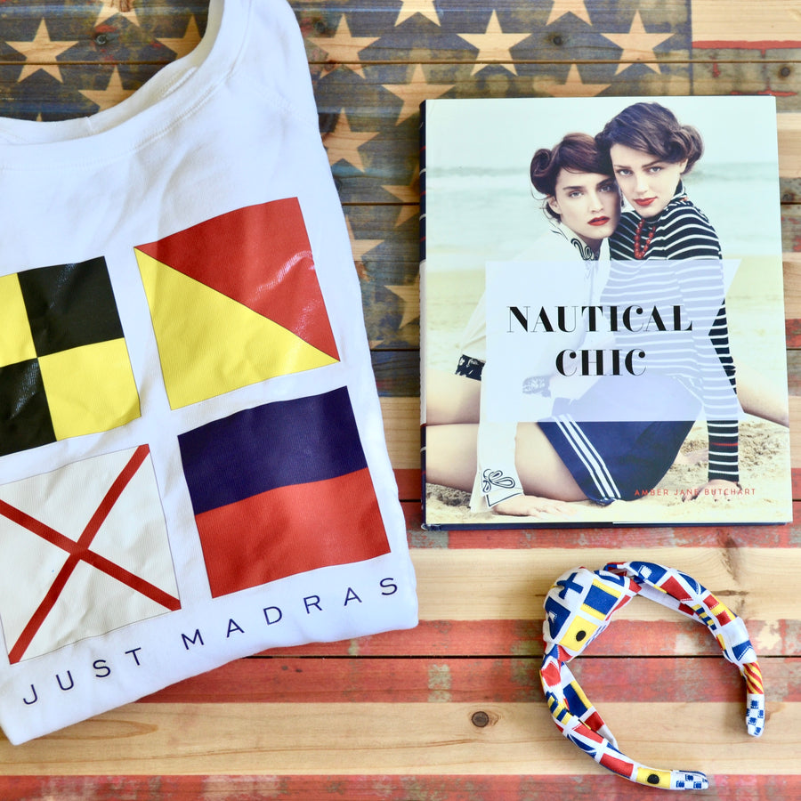 Signal Flag (LOVE) Off the Shoulder Sweatshirt - Just Madras