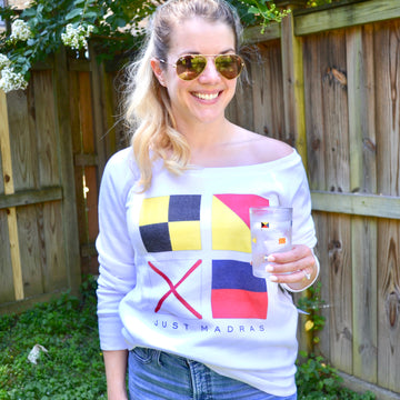 Signal Flag (LOVE) Off the Shoulder Sweatshirt