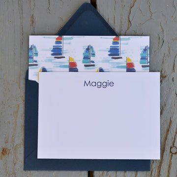Personalized Sailboat Note Cards (Set of 10) - Just Madras