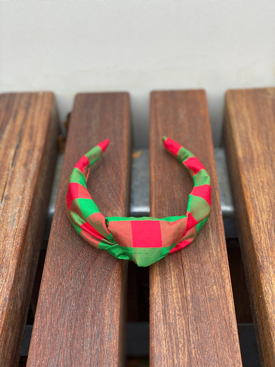 Knot Headband (Silk)- Red/Green Check - Just Madras