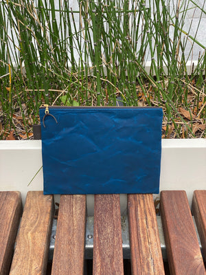 Oversized Waxed Canvas Clutch- Bright Navy - Just Madras