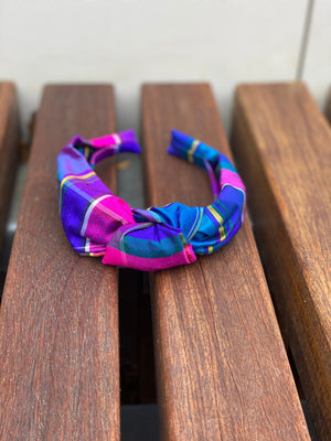 Knot Headband (Silk)- Palm Beach Plaid - Just Madras