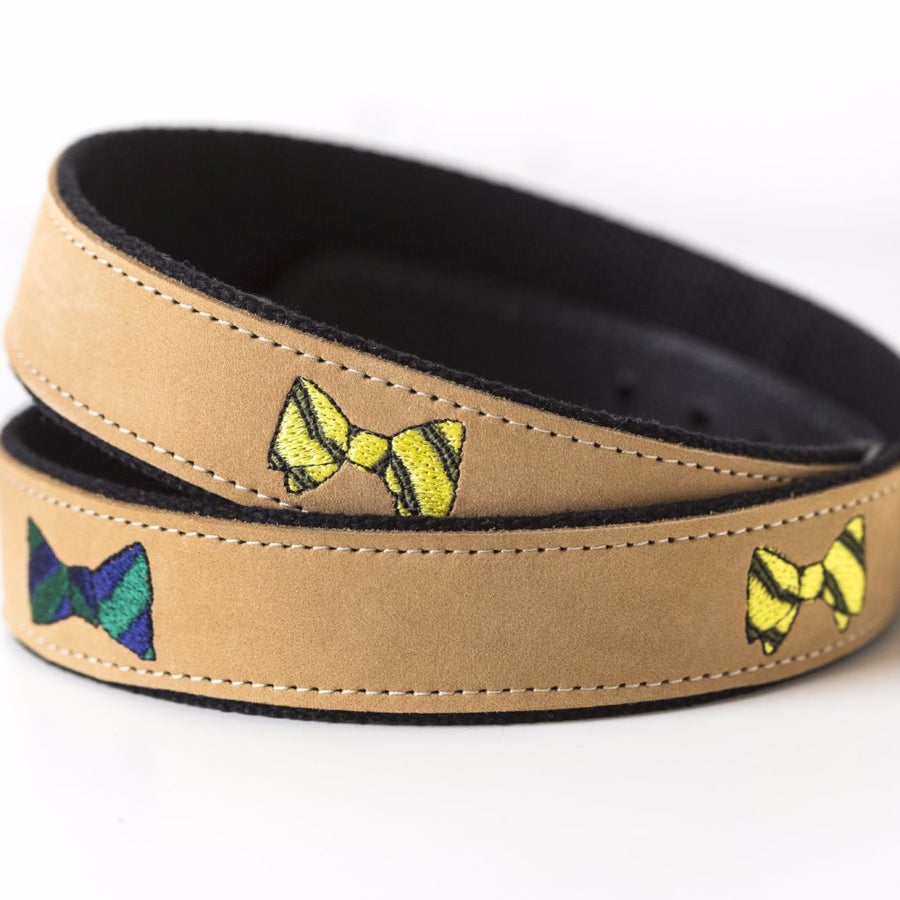 Embroidered Bow Tie Leather Tab Belt - Just Madras