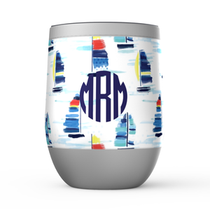 Open image in slideshow, Monogrammed Stemless Wine Tumblers- Sailboats - Just Madras