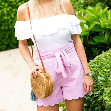 High Waisted Scalloped Shorts- Pink Seersucker - Just Madras