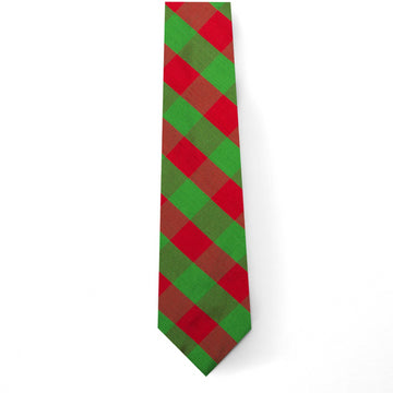 Holiday Silk Tie- Green/Red Check - Just Madras