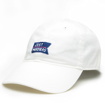 Needlepoint Logo Hat- White - Just Madras
