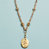 Vintage Gold-Plated Locket with Handwoven Chainmaille Necklace