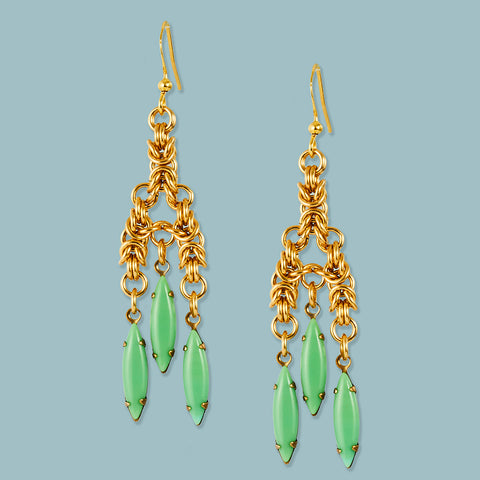 Vintage Green Glass and Chainmaille Chandelier Earrings