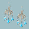 Vintage Teardrop Glass and Sterling Chainmaille Earrings