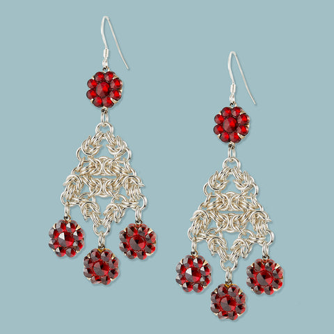 Vintage Garnet Glass and Sterling Chainmaille Earrings